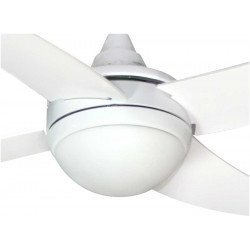 Artus ceiling fan 112 Cm white, white blades, with light kit, and remote control