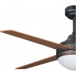 Elysa walnut, ceiling fan 112 Cm patinated bronze and cherry / walnut blades, with light and remote control