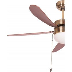 Ceiling fan 107 cm, antique brass with integrated lamp, blades Cherry / walnut, LIBE cherry-