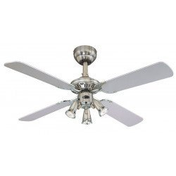 Ceiling Fan, 105 cm, 3 directable spotlights, reversible blades black / gray