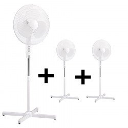 Pack of 3 x White Stand fans 40 Cm, with oscillation