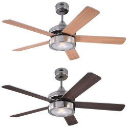 Ceiling Fan 132 cm, with lamp, double-sided blades maple / wenge.