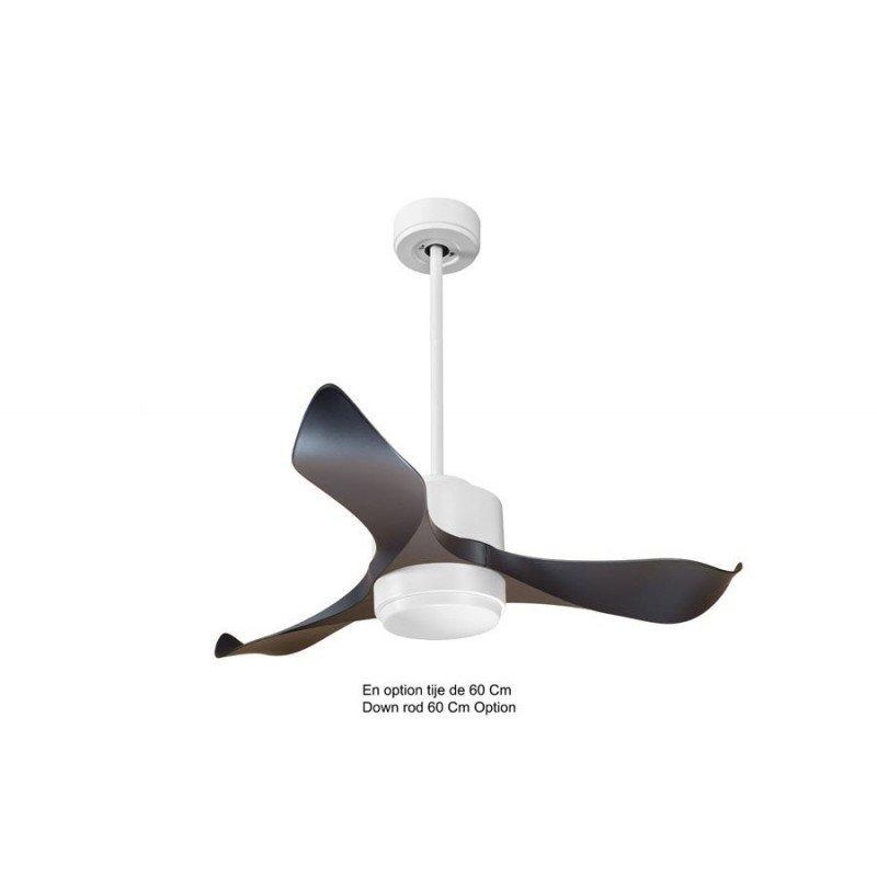 Modulo KlassFan - Super destratification fan, white and black with light, ideal for 40 to 60 m² KL_DC4_P1Bk_L1Wi