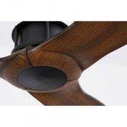 Designer ceiling fan, DC, 128 cm, wood blades, black, JUST FAN FARO 33395 of CONILLAS