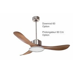 Modulo by KlassFan - DC Ceiling Fan with Light Chrom and wood ideal for 25 to 40 m² KL_DC3_P3Wo_L2ch