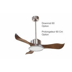 Modulo by KlassFan - DC Ceiling Fan with Light , chrom and wood, ideal for 25 to 40 m² KL_DC3_P1Wo_l2ch_com_tempv