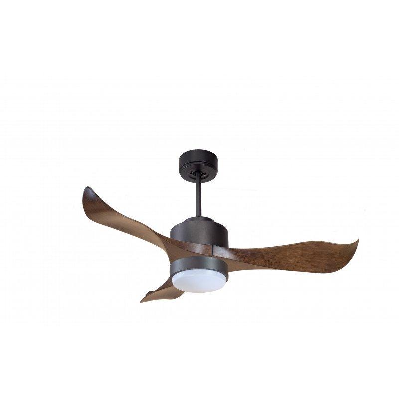 Modulo KlassFan - Super destratification fan, wood and black with light, ideal for 40 to 60 m² KL_DC1_P1Wo_L1Bk