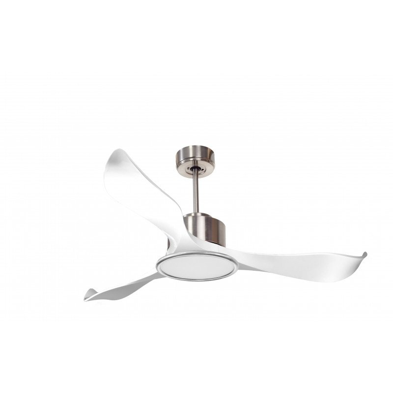 Modulo by KlassFan - DC Ceiling Fan with Light, Chrom and white, ideal for 25 to 40 m² KL_DC3_P2Wi_L1Ch