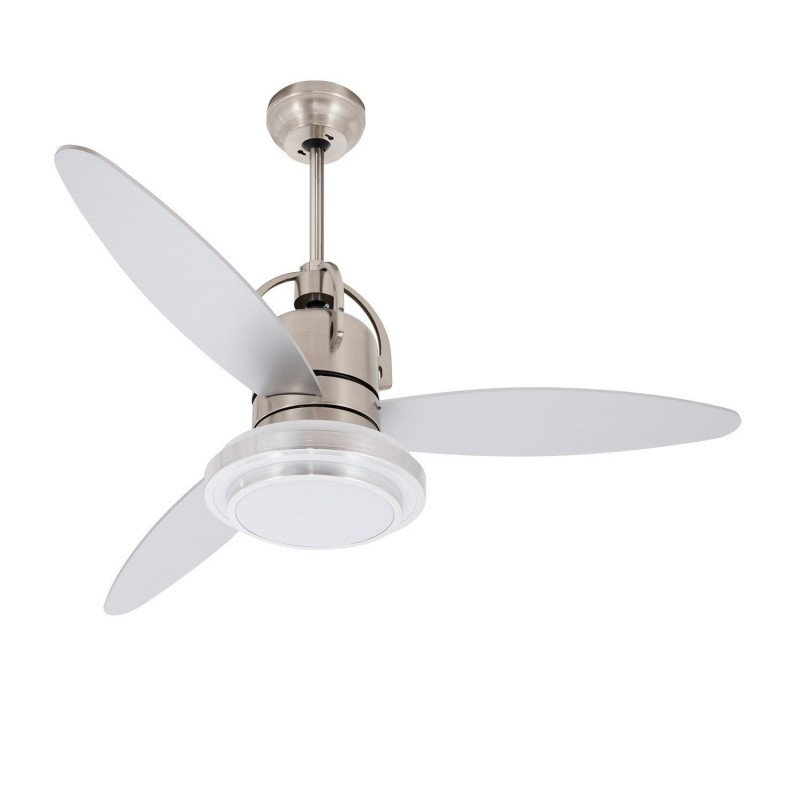Design ceiling fan limited edition 122 cm brushed chrome, remote control and powerful LED light point from KlassFan.
