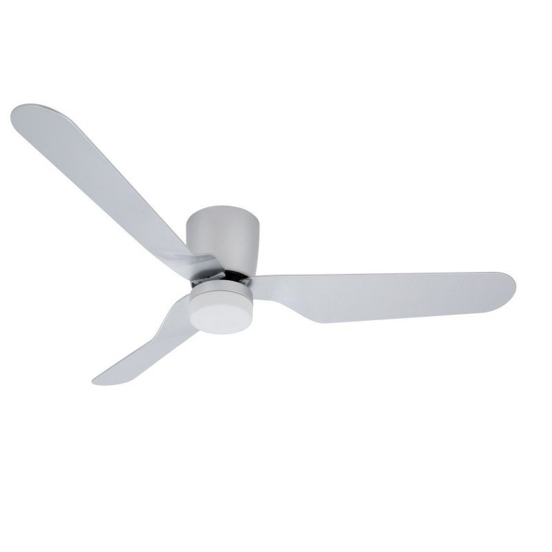 DC ceiling fan design for low ceilings 132 cm silver gray, with light