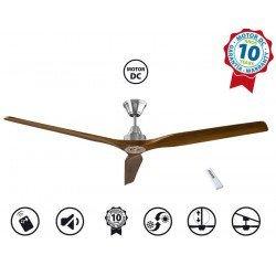 Soft by KlassFan - a DC ceiling fan 178 Cm, ultra silent, light walnut wood blades
