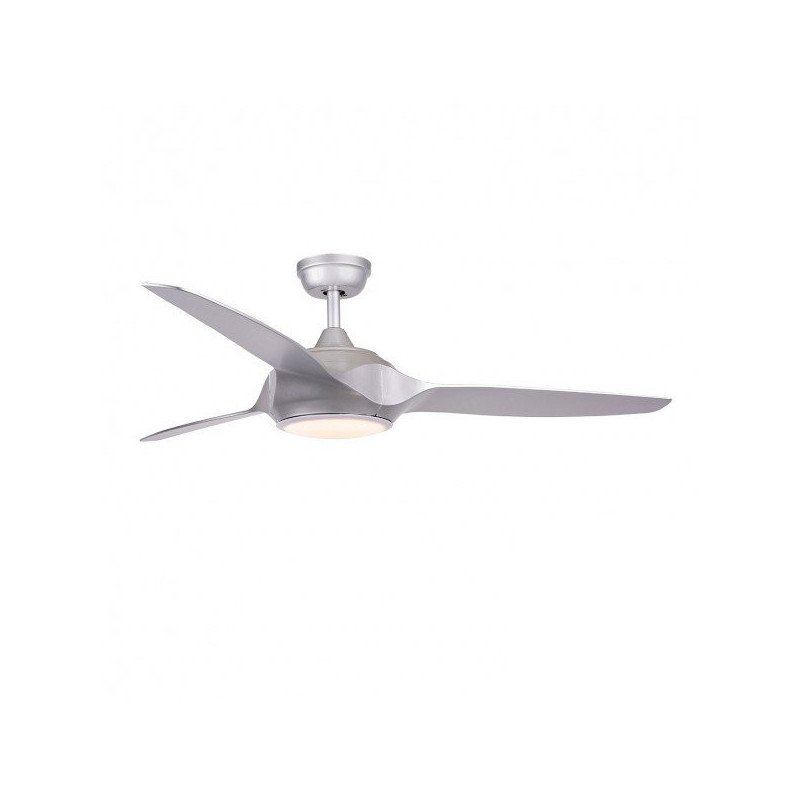 Ceiling fan DC Design 132 cm silver gray with LED lamp remote control