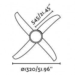 Ceiling Fan 130 cm. with integrated light - FARO 33392 WIND