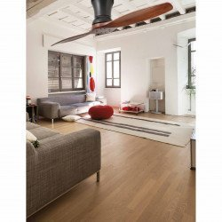 Ceiling fan, two-blades, basalt grey and dark wood, with remote control, large size 152 cm, FARO Lama 33507