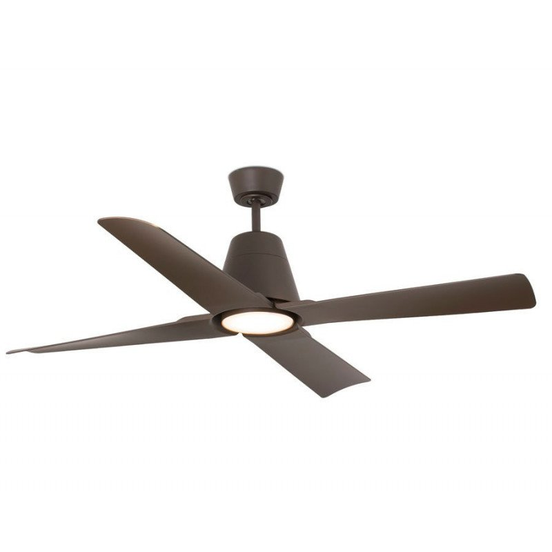 Outdoor DC ceiling fan, IP 44, rust colour, 130 cm, with light LED FARO Typhoon 33490