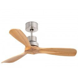 Ceiling fan, design, 108 Cm, for bedrooms or offices, solid wood pine blades, chrome Faro Mini LANTAU 33509
