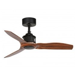 Ceiling fan, design, silent, DC, 91 cm, blades imitation wood, black motor FARO JUST FAN 33 from CONILLAS