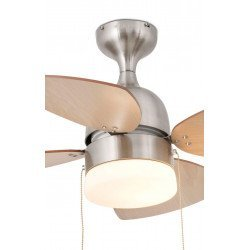 90 cm ceiling fan with integrated lamp, reversible blades in machagony and maple, body nickel matt - MEDITERANEO