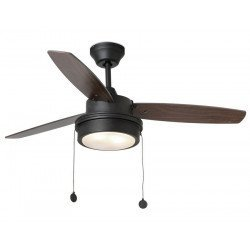 Ceiling Fan 106 cm with integrated lamp - Komodo- reversible blades black and walnut, body gray basalt