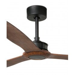 Designer DC ceiling fan, silent , 178 cm, wood-like blades, black motor FARO JUST FAN 33430 from CONILLAS