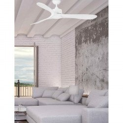 AC ceiling fan with remote control, white, 132 cm, modern style, for low ceilings - FARO Luzon 33750