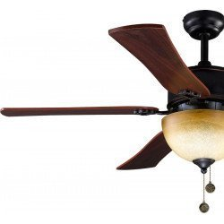 Ceiling fan 120 cm, with a powerful light, black /bronze antique and cherry texture blades