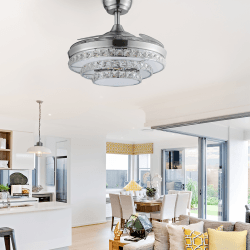 Shadow Strass of LBA HOME, an efficient ceiling fan with retractable blades and a powerful LED