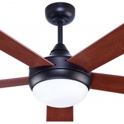Modern ceiling fan 132 cm Rustic basalt gray, reversible blades cherry / walnut remote control