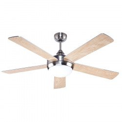 Modern Ceiling Fan 132 cm Brushed Chrome, reversible Silver / Beech Blades, Remote Control