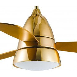 Modern ceiling fan 107 cm gold, gold blades and remote control - Golden Tulip