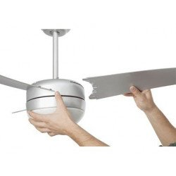 Ceiling fan, modern, silver, 107 cm. with lamp, IR remote control