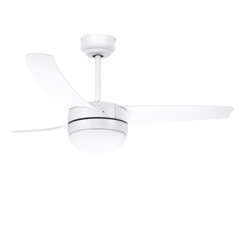 Ceiling fan, modern, white, 107 cm. with lamp, IR remote control