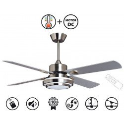 LBA Home, Blizzard Bis a ceiling fan design silver / white blades 132 cm, with LEd and remote control