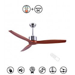 Taulan DC destratification ceiling fan, blades of solid wood, 132 cm, satin chrome, thermostat