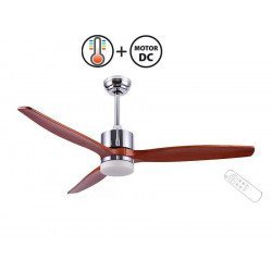 Taulan Light a DC destratification ceiling fan, blades of solid wood, 132 cm, satin chrome, with lamp, thermostat