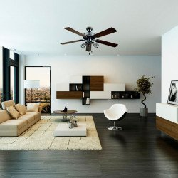 A 132 cm modern ceiling fan with powerful light, Chanterelle by Lba Home