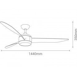 Ceiling fan DC design 147 cm wood, 3 tone led light, reversible, remote control, Koala Wood LBA HOME