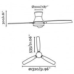 ceiling fan, modern, 132 cm. brown, two colors blades, lamp FARO Tonsay