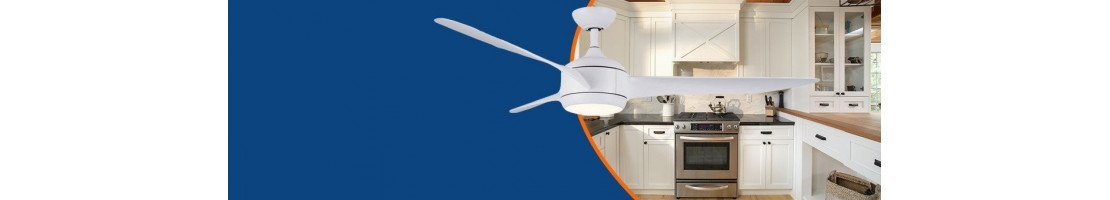 Ceiling fan for kitchens and wet rooms.