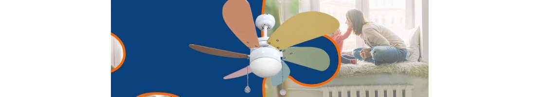 ceiling fans for children, with or without light, with or without remote control.